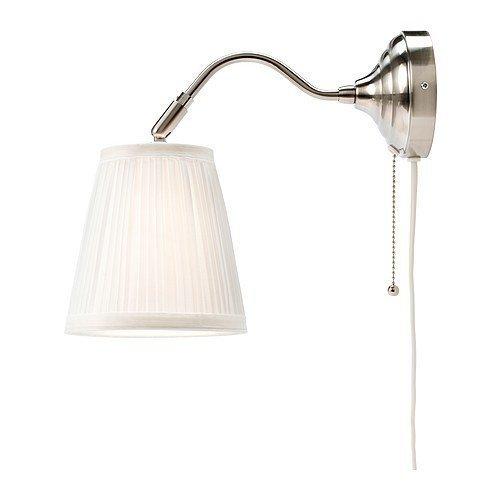 2 XIKEA Wandleuchte Arstid nernickelt weiß Schirm 16 cm D Lampe Wandlampe