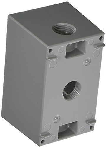 Hubbell Raco 5385-0 2-5/8-Inch Deep Weatherproof Electrical Box with (1) Gang, (3) 1/2-Inch Outlets, 4-1/2-Inch x 2-3/4-Inch, Gray