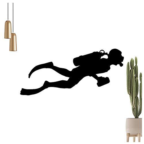 hauptsachebeklebt KIWISTAR Taucher Silhouette mit Druckluftflasche Wandtattoo in 6 Größen - Wandaufkleber Wall Sticker