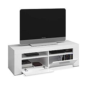 Marca Amazon - Movian Spey - Mueble móvil para TV con 2 cajones y 2 puertas, 40 x 159 x 46 cm, blanco: Amazon.es: Hogar