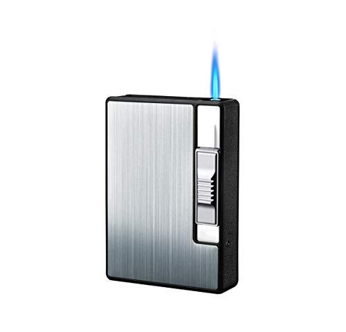 Focus Zigarettenetui Spender mit Butan Jet Torch Feuerzeug (Enthält 10) Serie P Silber