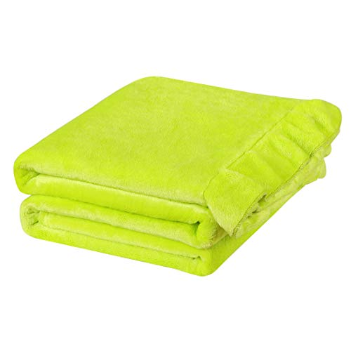 PiccoCasa Flannel Fleece Blanket Throw Size Lime Green - Luxury Sofa Throws and Blankets with Ruffle Trim - Lightweight Plush Microfiber Solid Decor Blanket for Couch,Bed, Chair, 50' x 60'