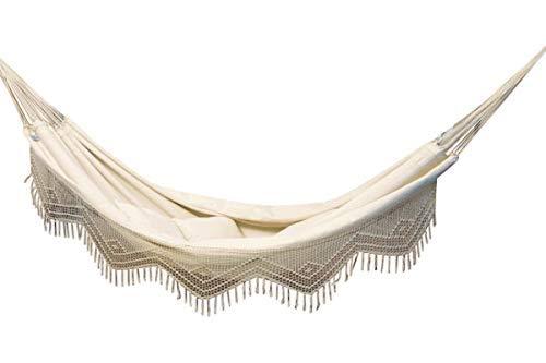 MacaMex MA-01070 Hängematte, Brasil Comfort Premium Doppelhängematte aus Brasiien Baumwolle mit Macramerand, 400 x 170 x 150 cm, natur