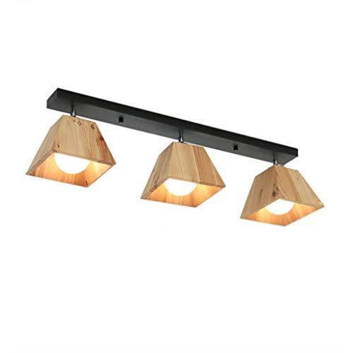 WJLL Massivholz-Deckenleuchte, schmiedeeiserne Deckenlampe/Holzlampenschirm, 3 Leuchten,verstellbare Strahler, 3 x E27-Fassung, Retro-Design-Pendelleuchten, geeignet für LED-Leuchten,Schwarz
