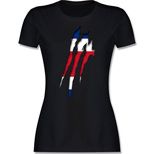Fußball-Europameisterschaft 2021 - Costa Rica Krallenspuren - S - Schwarz - Shirt Damen Costa rica - L191 - Tailliertes Tshirt für Damen und Frauen T-Shirt