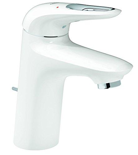 GROHE Eurostyle Badarmaturen - Einhand-Waschtischbatterie (DN 15 S-Size, Einlochmontage) moon white / chrom, 33558LS3