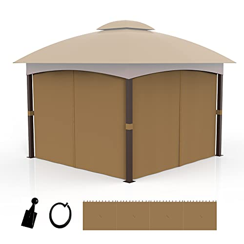 COZYVIDA Gazebo Privacy Curtain 10' x 12' 4-Panels Universal Replacement sidewall Khaki (Only 4Pieces Curtain)