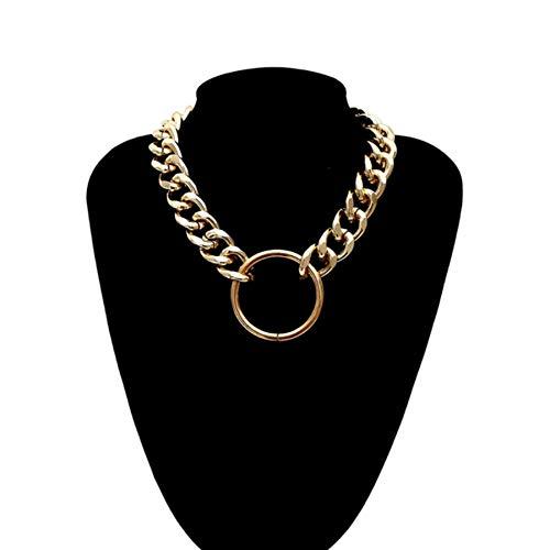 Dengjiam Halskette Damen Hip Hop Übertreibung Dicker Bordstein Kubanische Gliederkette Choker Halskette Großer Reifen Anhänger Frauen Männer Unisex Modeschmuck Geschenk
