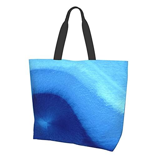 Wave Watercolour Watercolour - Bolsa de lona impermeable grande, cómoda bolsa de hombro, duradera, para gimnasio, playa, viajes, compras diarias, 15,7 x 19,7 x 15 cm