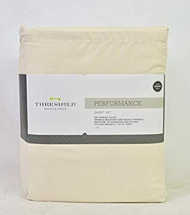 Charmant Threshold Performance Solid Queen Sheet Set Collonade White