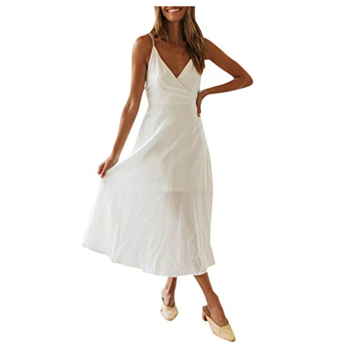 Find Discount Witspace Women Daily Sleeveless V-Collar Bandage Evening Party Casual Short Long Dress