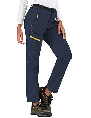 SANMIO Pantalones al Aire Libre para Mujer Pantalón da Senderismo y Trekking Alpinismo Ligero Secado Softshell Transpirable Fleece Lined Aire Libre Pantalones de Mantener Caliente