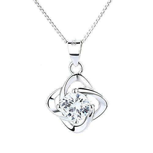 KINGVON S925 Collar de trébol de cuatro hojas simple de plata esterlina con colgante de diamantes, Regalo de cumpleaños de Navidad Joyas Soy tan afortunado como, Plata
