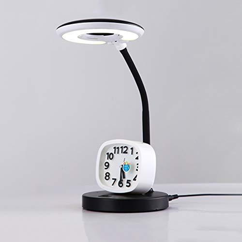 Lampes de bureau à LED pour étudiants, éclairage à 360 °, flexible de flexion, lampe de table portable, dortoir nordique, bureau de lecture, lumières Chambre à coucher simple, salon (Color : Noir)