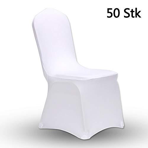 AllRight 50 x Universell Stuhlhussen Stretch Stuhl Husse Stuhlbezug Stuhlüberzug Weiß