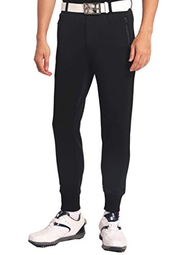 【NewEdition GOLFR】ゴルフパンツ メンズ ストレッチ ジョガーパンツ ゴルフウエア メンズ 全3色3サイズNEG-040 (ブラック, 3サイズ・XL-XXL)