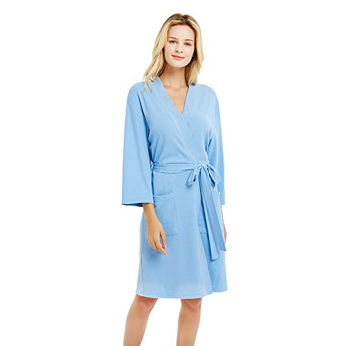 U2SKIIN Womens Cotton Robes, Lightweight Robes for Women with 3/4 Sleeves Knit Bathrobe Soft Sleepwear Ladies Loungewear(Sky Blue, M)