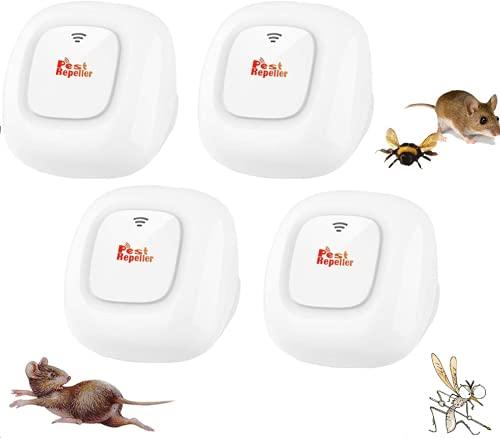 MATEHOM Ultraschall Schädlingsbekämpfer, Mückenschutz, Ultraschallschutzmittel für Mückenschutzmittel, Schutz vor Mäuse, Mücken, Fliegen, Spinnen, Ameisen und Kakerlaken, Ungiftig (4 Stück)
