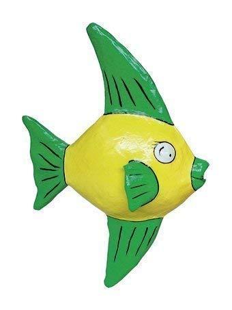 E+N Segel-Fisch Maritim Sommer Urlaub Meer Tauchen klein gelb HxLxT: 41x27x15cm, Pappmaché
