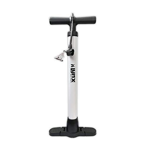 Lynx Ideal für Fahrradreifen, Bälle & Matratzen Fahrradpumpe Fahrrad Standpumpe Luftpumpe für alle Ventile, Weiss, aus Stahl mit Adapter