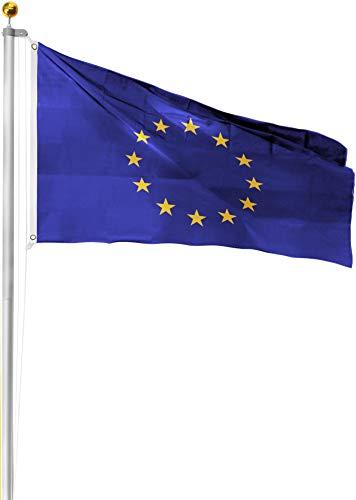 normani Aluminium Fahnenmast inkl. Deutschland Fahne + Bodenhülse + Zugseil - in verschiedenen Höhen wählbar Farbe Europa Größe 8.00 Meter