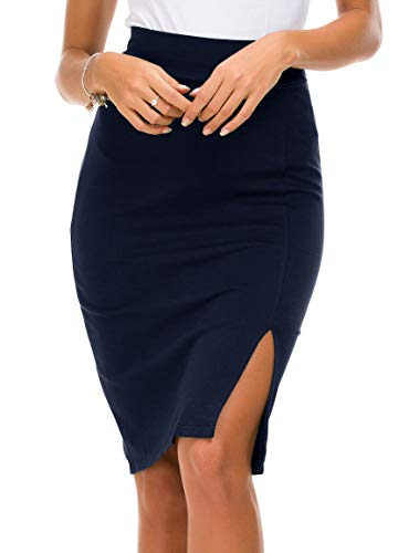 Urban CoCo Women's Elastic Waist Side Slit Hem Bodycon Pencil Skirt (S, Navy Blue)