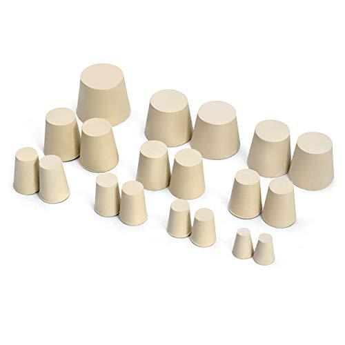 QWORK tapones de goma, para Sellar Tubos de Ensayo de Laboratorio, 10 tamaños surtidos 000# -7#, 19 Piezas