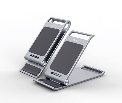 Momii Mobile Phone Stand - Foldable Metal Smartphone Holder for Office Desk, Table - Small, Lightweight, Portable & Compatible with Most Phones & Tablet - Adjustable Positioning (Silver)
