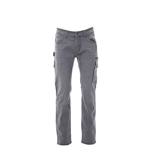 PAYPER West Pantalone da Lavoro Uomo Taglio Jeans Misto Denim Tasche Laterali Chiusura Zip Porta Metro Smartphone Effetto Consumato delavè Steel Grey (48)