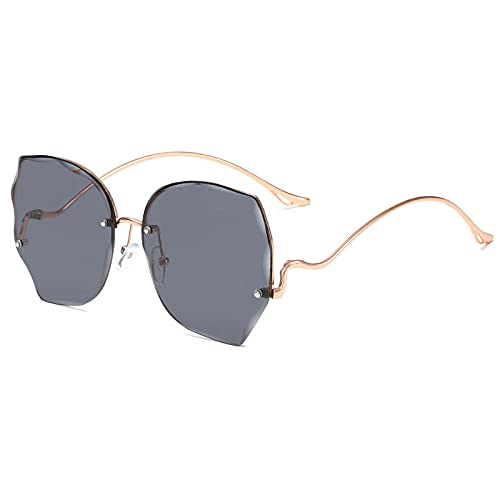 XDOUBAO Gafas de sol Gafas de sol Gafas de sol sin marco femeninas Gafas de tiro de calle personal-C1 de oro marco negro gris