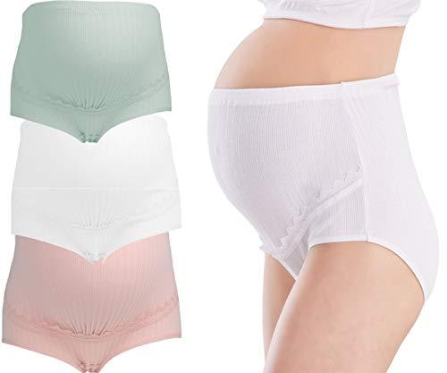 JFAN Bragas para Embarazadas Algodon de Cintura Alta Braguitas sin Costuras Mujer de Maternidad, Pack de 3