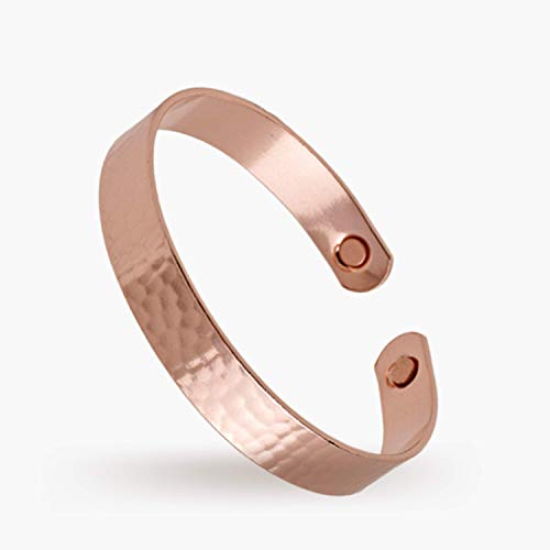 Pure Copper Magnetic Bracelet   Arthritis Pain Relief   Migraine Pain Relief   Therapeutic Energy Wristband for Men and Women   3/8' Beaten Pattern (6.5')