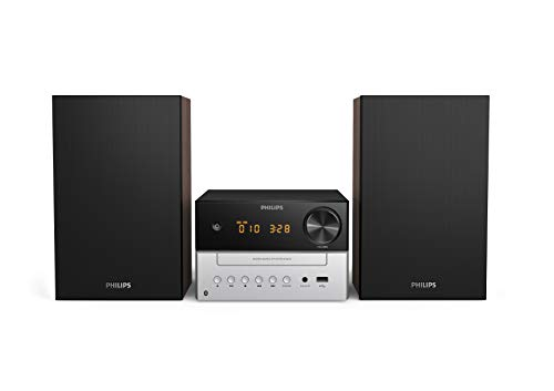 Philips M3205/12 Minicadena de Música con CD y USB y Bluetooth (Radio FM, MP3-CD, Puerto USB para Carga, 18 W, Altavoces Bass Reflex, Control Digital del Sonido) - Modelo 2020/2021