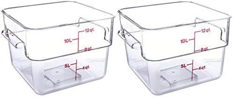 Cambro 12SFSCW135 CamSquare Food Storage Containers, Set of 2 (12-Quart, Polycarbonate, NSF)