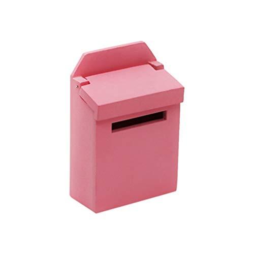 Healifty Miniature Mailbox Model Figurine Furniture Mini Scene Props for Fairy Garden Ornament Dollhouse Decoration (Pink)