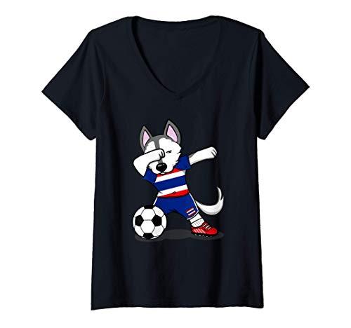 Mujer Dabbing Husky Dog Tailandia Fútbol - Bandera tailandesa Camiseta Cuello V