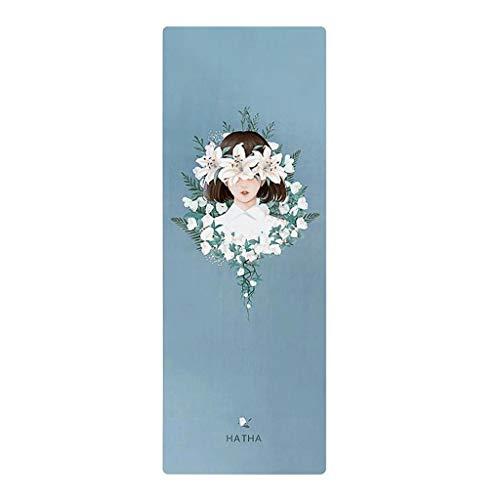 XINGDONG Esterilla de yoga portátil de 1,5 mm para mujer, de goma natural, antideslizante, para principiantes, para el hogar, tapete para el suelo, manta para yoga, fácil de almacenar (color: azul c)