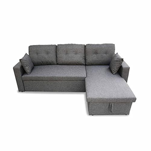 Canapé d angle Convertible en Tissu Gris chiné foncé - IDA - 3 Places. Fauteuil d angle réversible Coffre Rangement lit modulable
