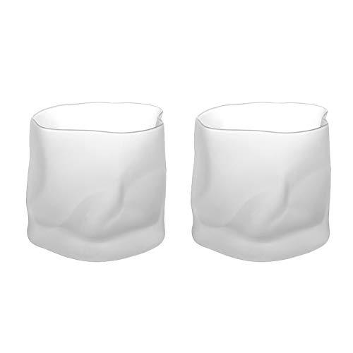 NBSXR -Copas De Vino Sin Tallo De Cristal, Hermoso Regalo para Cualquier Ocasión, Juego De Vino Geométrico Simple, Vaso De Whisky De Vidrio Cuadrado Retorcido, Esmerilado, 2 Piezas