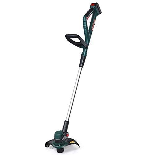Goplus Cordless String Trimmer/Edger, with 20V 2.0Ah Lithium Ion Battery and Charger, 10 inches Width, Height Adjustable (Green String Trimmer)