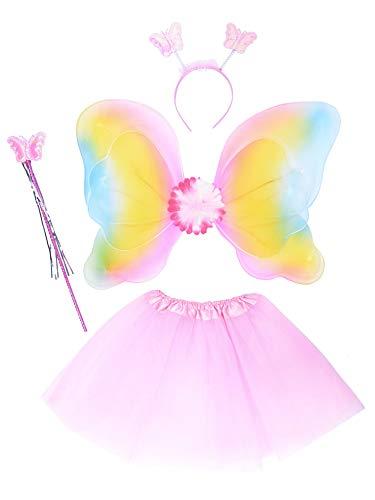 THEE Costume da Elfa o Principessina in 4 Pezzi a Forma di Ali di Farfalla con Luci LED e Bacchetta Magica Costume per Bambine in Occasione di Feste Carnevale Halloween (Z-Rosa)