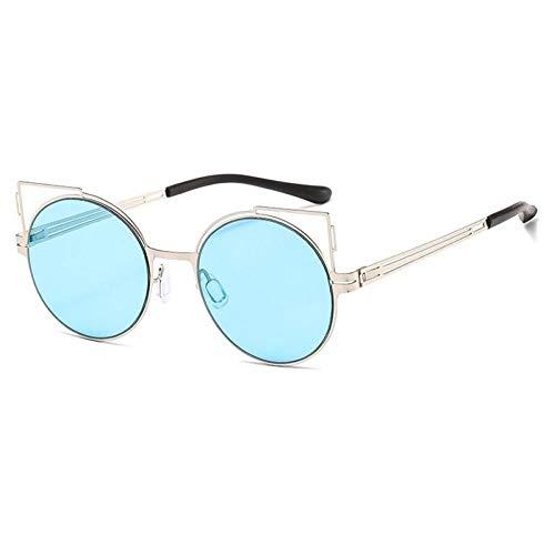 ZZOW Occhiali da Sole da Donna Unici con Occhi di Gatto Scava Fuori Montatura in Metallo Occhiali da Vista Tondi con Lenti Colorate Occhiali da Sole da Donna di Tendenza Uv400