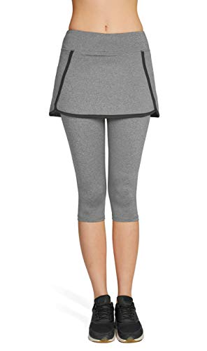 Westkun Damen Tennisrock mit Leggings 3/5 Caprihose mit Rock Laufrock Tennisbekleidung Stoffdruck(Hellgrau,M)