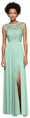 Long Bridesmaid Dress with Lace Bodice Style F19328, Mint, 10