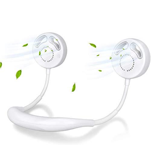 Pulchram Ventilador de Cuello Colgante, Banda de Cuello Portátil Ventiladores Deportivos Ventilador Usable Recargable USB 2000mAH, 3 Velocidades para Viajes de Oficina al Aire Libre (Blanco)