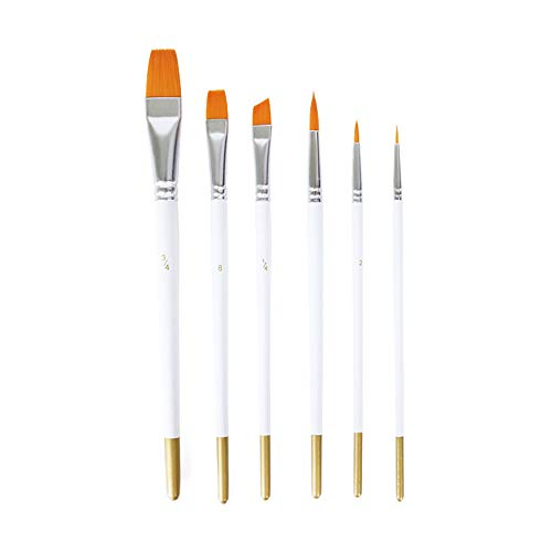 6 Pieces Artist Paint Brushes Set Multifunctional Nylon Paint Brushes, Plastic, White Art Painting Supplies for Acrylic and Oil Painting