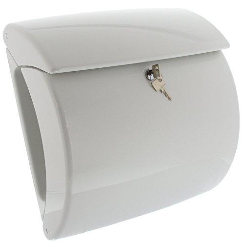 BURG-WÄCHTER, Briefkasten mit integriertem Zeitungsfach in Klavierlack-Optik, A4 Einwurf-Format, EU Norm EN 13724, Hochwertiger Kunststoff, Piano 886 W, Weiß