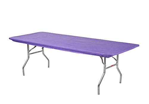 Kwik Covers 8' Rectangle Plastic Table Covers 30' x 96', Bundle of 5 (Purple)
