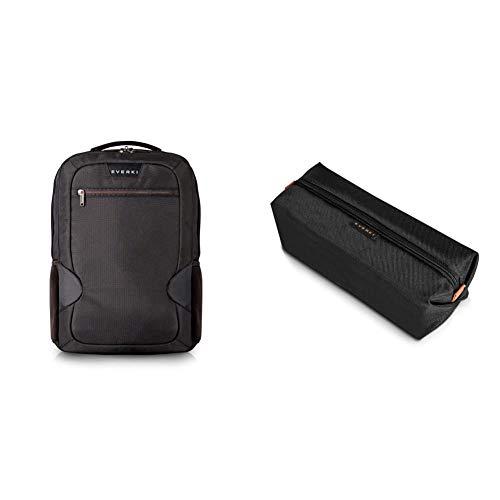 Everki Studio – Laptop Rucksack für Notebooks bis 14,1 Zoll (36 cm) / MacBook Pro 15 Zoll mit integriertem Ecken–Schutz–System, Trolley-Lasche, Schwarz & Pouch - Zubehörtasche für Kabel, Schwarz