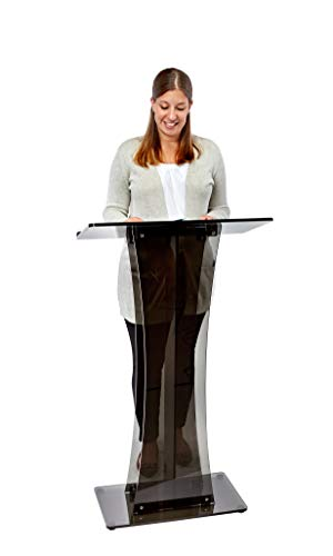 Adir Clear Podium Stand - Acrylic Pulpits for Churches, Professional Portable Presentation Podium Lectern with Wide Reading Surface for Restaurants, Weddings, Office and Classrooms